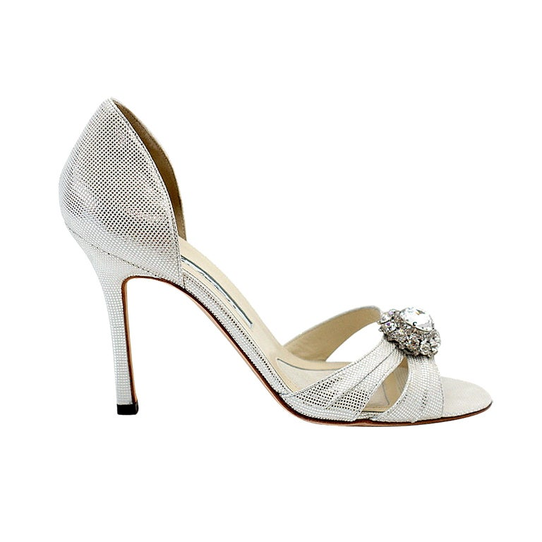 BRIAN ATWOOD Shoe Silver Shimmer Large Diamante 37 / 7 NEW