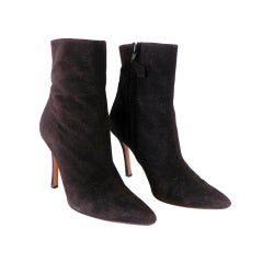 MANOLO BLAHNIK ankle boot buttery soft chocolate suede 36.5 6.5
