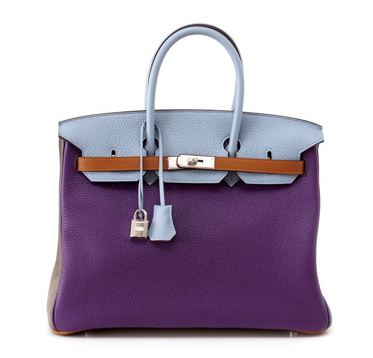 A TO DIE FOR beauty that is SO exquisite, rare, and utterly breathtaking!  Limited Edition Arlequin(Harlequin).  No longer produced. Exotic with Ultra Violet, Etain, Bleu Lin, Bleu Abscur, Etoupe and Gold.  This unique bag is so neutral!   Palladium