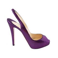 CHRISTIAN LOUBOUTIN Platform Shoe Hot Metallic Fuschia Black 7.5 / 37.5