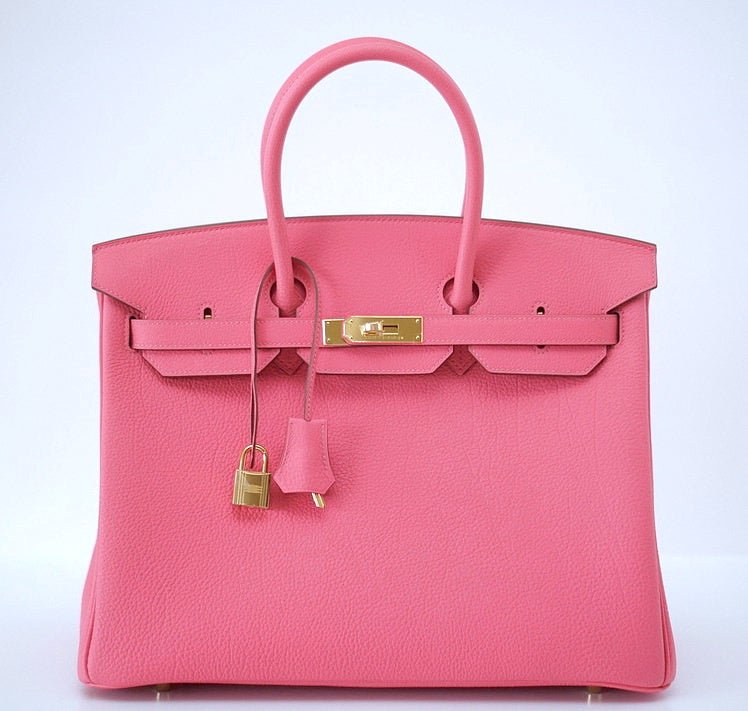 HERMES BIRKIN 35 Bag ROSE LIPSTICK gold hardware divine new pink 2