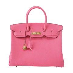 HERMES BIRKIN 35 Bag ROSE LIPSTICK gold hardware divine new pink