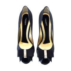 DOLCE GABBANA Peeptoe Shoe gorgeous tuxedo Bow Diamantes New 9.5