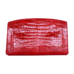 NANCY GONZALES bag gorgeous RED crocodile clutch clean sleek
