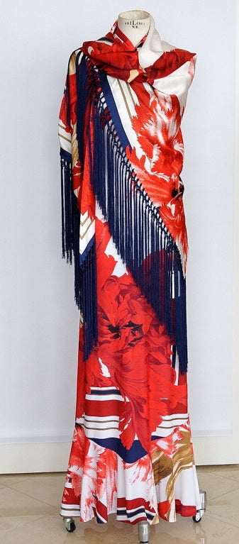 Pink ROBERTO CAVALLI Dress Gorgeous Print / Lush Fringe Shawl  42  For Sale