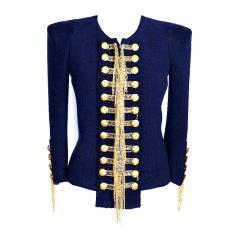 BALMAIN jacket  silk blend Military tweed chains 40 / 6  NWT