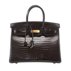 Hermes Birkin 35 Black Porosus Crocodile Gold Hardware Bag
