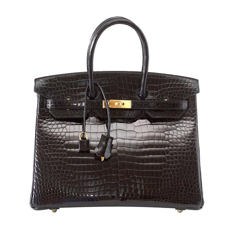 Hermes Birkin 35 Black Porosus Crocodile Gold Hardware Bag