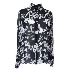CHANEL 04S Blouse Top Silk Chiffon Floral Print Beautiful Details   42 / 8 New