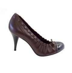 Chanel Shoe Brown Black Toe Heel Round Toe Ballet Style Heel 7.5  37.5