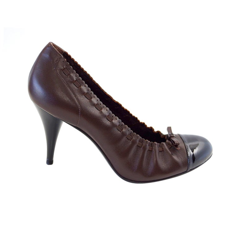 CHANEL Shoe Brown Black Toe Heel Round Toe Ballet Style Heel 7.5  37.5 1