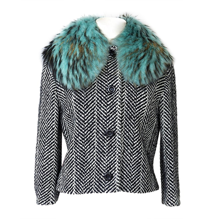 M MISSONI herringbone jacket detachable faux fur collar 42 / 6 For Sale