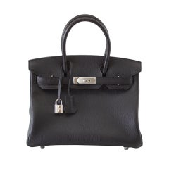 HERMES BIRKIN 30 Bag BLACK Chevre Palladium Gris interior