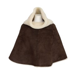 HERMES poncho short plush SHEARLING chocolate SM