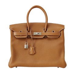HERMES BIRKIN 35 Bag GOLD Palladium hardware