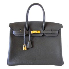 HERMES BIRKIN 35 Bag VERT BRONZE veau tracking leather