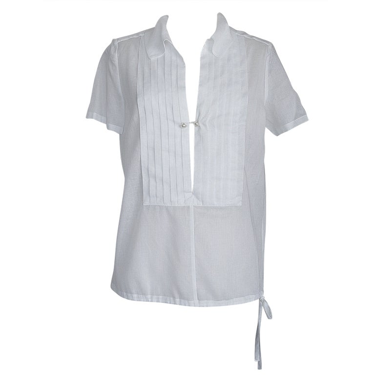 Chanel 04C top white cotton tuxedo pleating detail pearl buttons 42 / 8