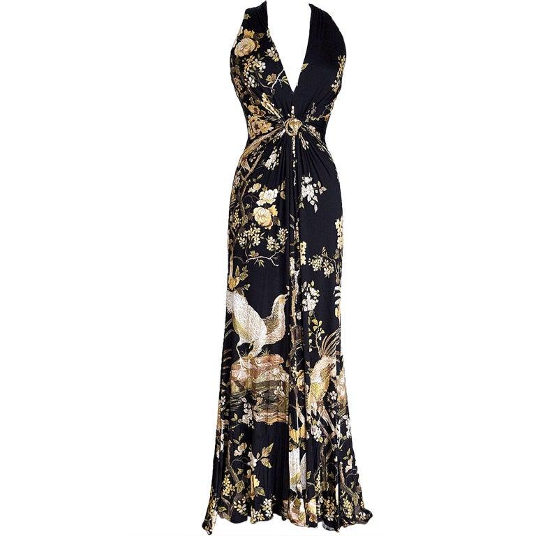 ROBERTO CAVALLI Dress Gown Bird Print Subtle Metallic Deep V Neck 42 / 8  1