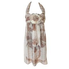 Chanel 10P Halter Dress Silk Heaps CC Lion Face  40 / 6 New