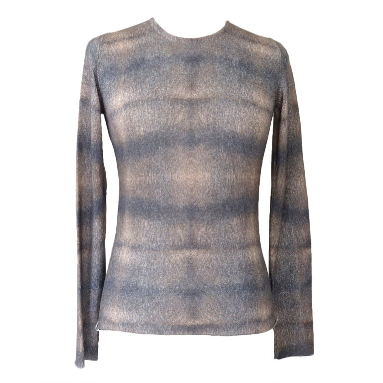 LUCIEN PELLAT-FINET top cashmere and silk M gorgeous print muted colours