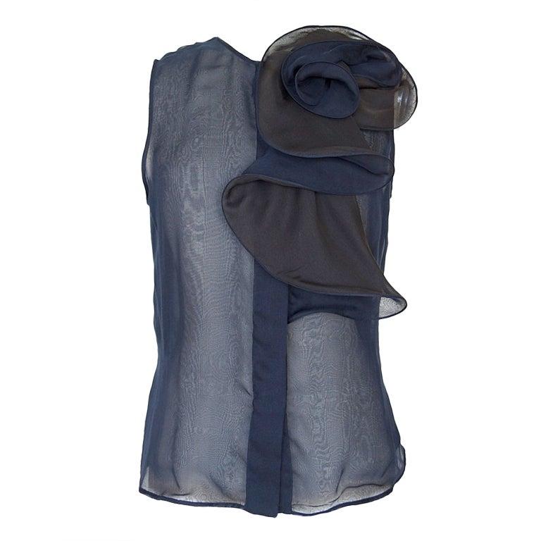 GIORGIO ARMANI Top sleeveless abstract FLOWER Deep Navy brown 48 fits 8 1