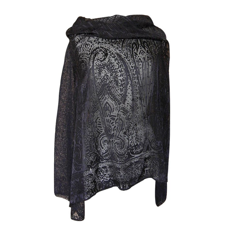 Henry Beguelin Top Laser Cut Tunic Knit Sleeves Unique and Fabulous L