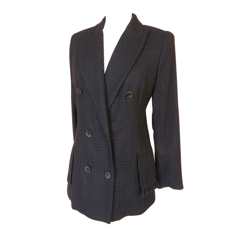 CHRISTIAN DIOR jacket superb fabric fringed pocket  42 /8 NW