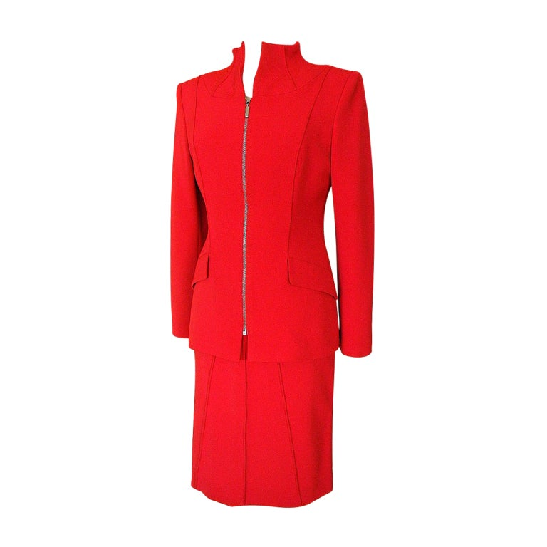 CLAUDE MONTANA Vintage skirt suit Superb Lipstick Red 42 /8