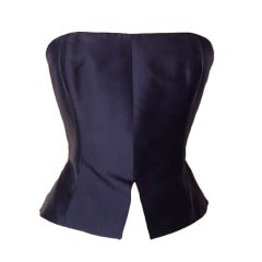 Christian Lacroix  Strapless Bustier Sleek Black Silk  8 /10