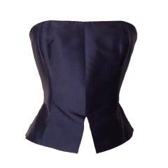 Christian Lacroix  Strapless Bustier Sleek Black Silk  8 /10