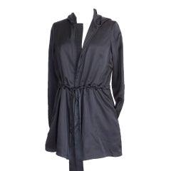 THE ROW black drawstring silk hoodie jacket 4 NEW