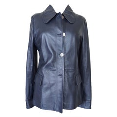 Dolce&Gabbana Leather Jacket Ink Blue Silver Monogram Buttons 46 fits 8 nwt