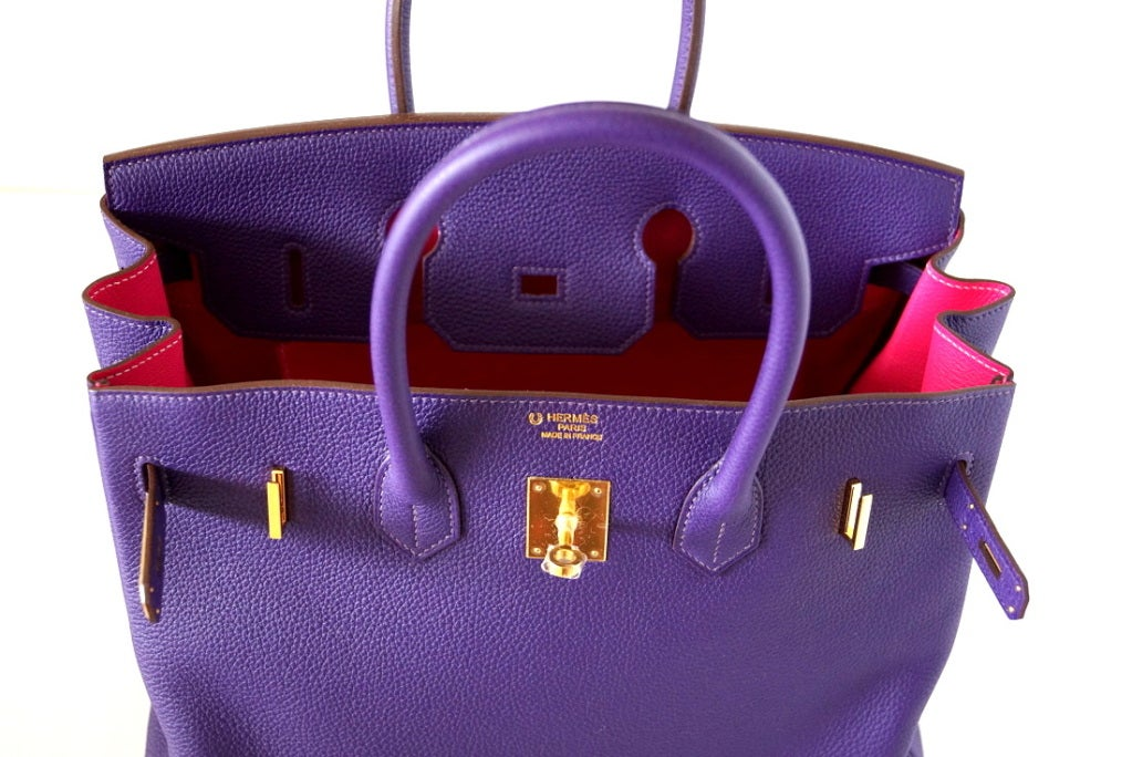 HERMES BIRKIN 35 bag IRIS Gold Hardware Royal colour 2