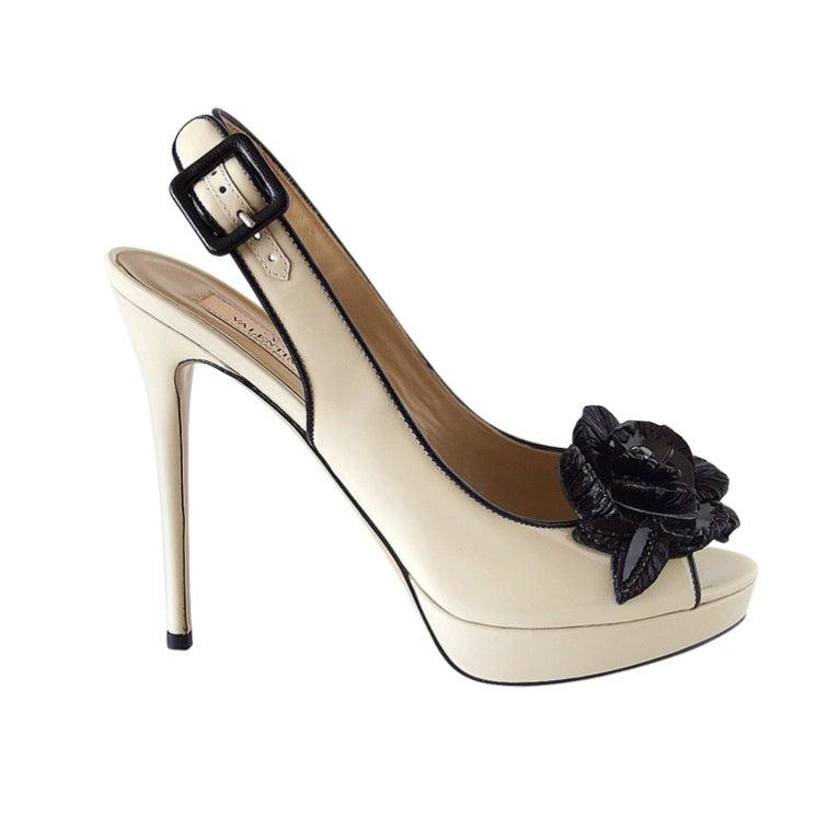 valentino shoe patent slingback platform black flower 9