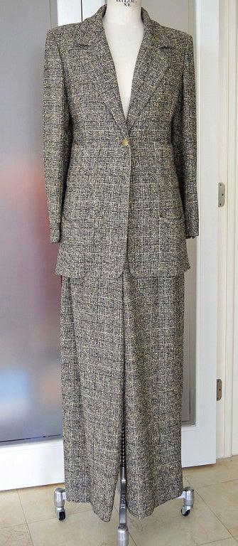 CHANEL 97A pant suit rich windowpane tweed gorgeous details 44 2
