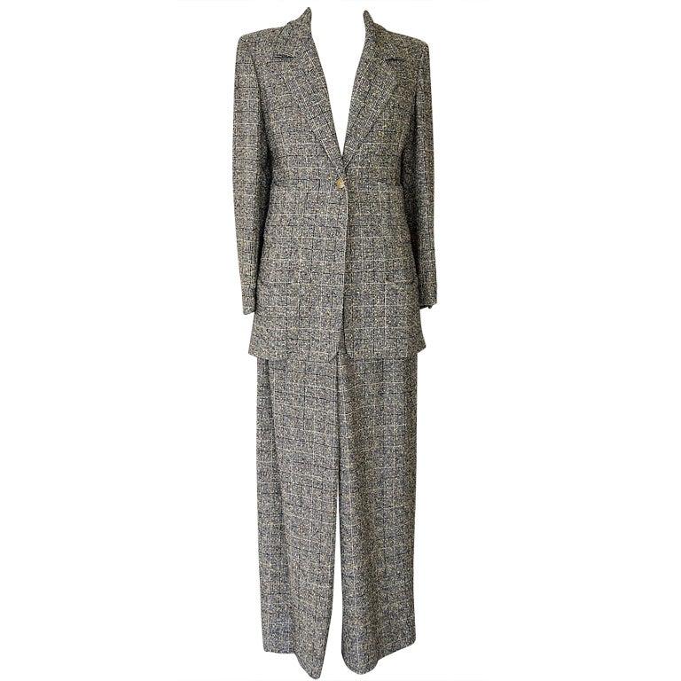 CHANEL 97A pant suit rich windowpane tweed gorgeous details 44 1
