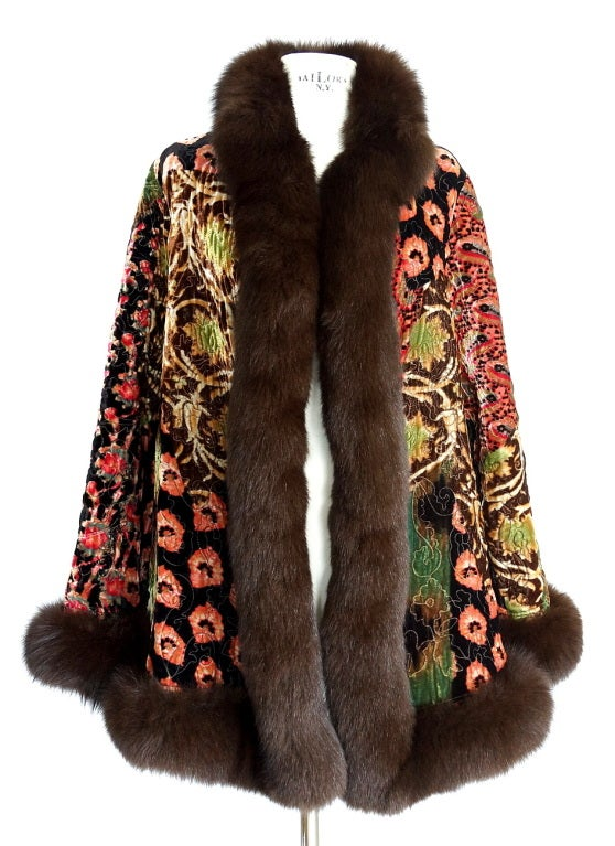 Guaranteed authentic OSCAR de La RENTA coat that is over the top sensational!  The most AMAZING details to this To Die For treasure.  Absolutely fabulous embroidered velvet coat in shades of tan, green, gold, pinks and peaches , black and