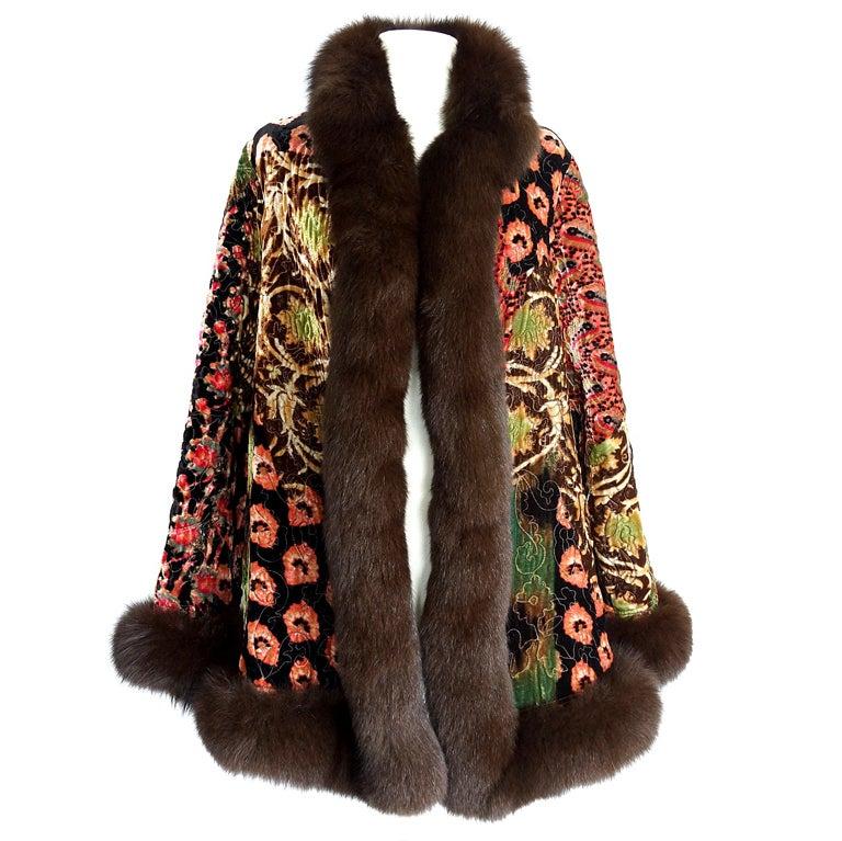 OSCAR de la RENTA reversible coat exotic print Fox fur trim fit