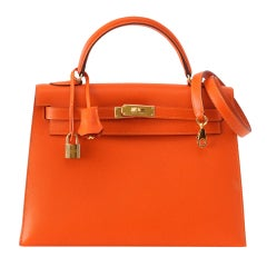 HERMES KELLY 32 Sellier FEU lush rich orange coveted Gold hardware