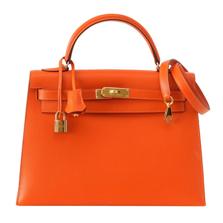 HERMES KELLY 32 Sellier FEU lush rich orange coveted Gold hardware ...