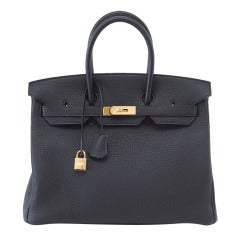 HERMES BIRKIN 35 Bag coveted sleek black gold hardware NEW
