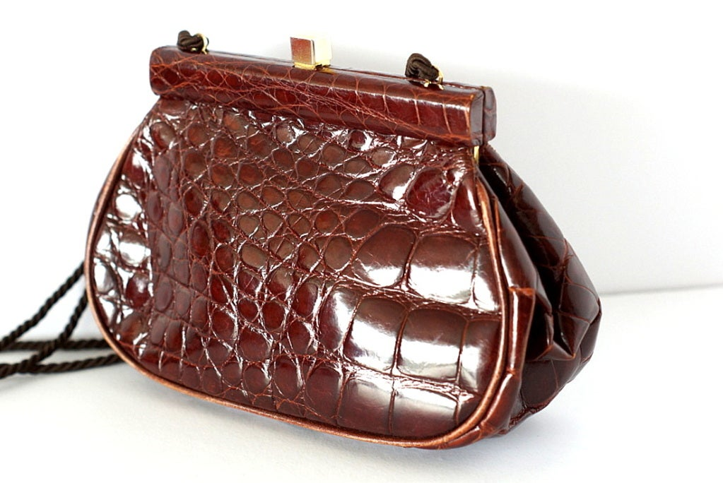 92e83c51377924 PRADA bag Vintage Crocodile Clutch shoulder cross body do peek at .