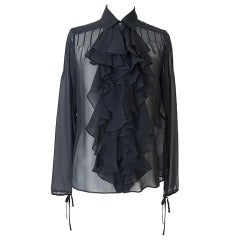 CHANEL 07P top wonderful lush ruffle jet black NWT 38 / 6