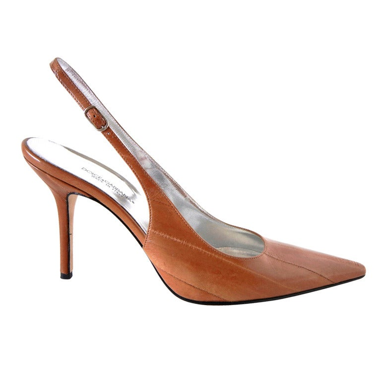 DOLCE&GABBANA Shoe Signature Slingback Camel Eelskin 40 fits 9