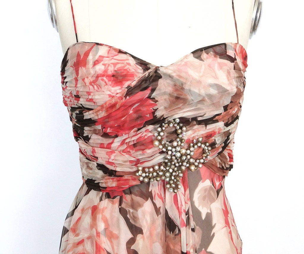 Brown BLUMARINE Dress Striking Beaded Bow 42 / 8 New For Sale