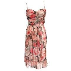 Blumarine Dress Rose Flower Print Striking Beaded Bow 42 / 8 New