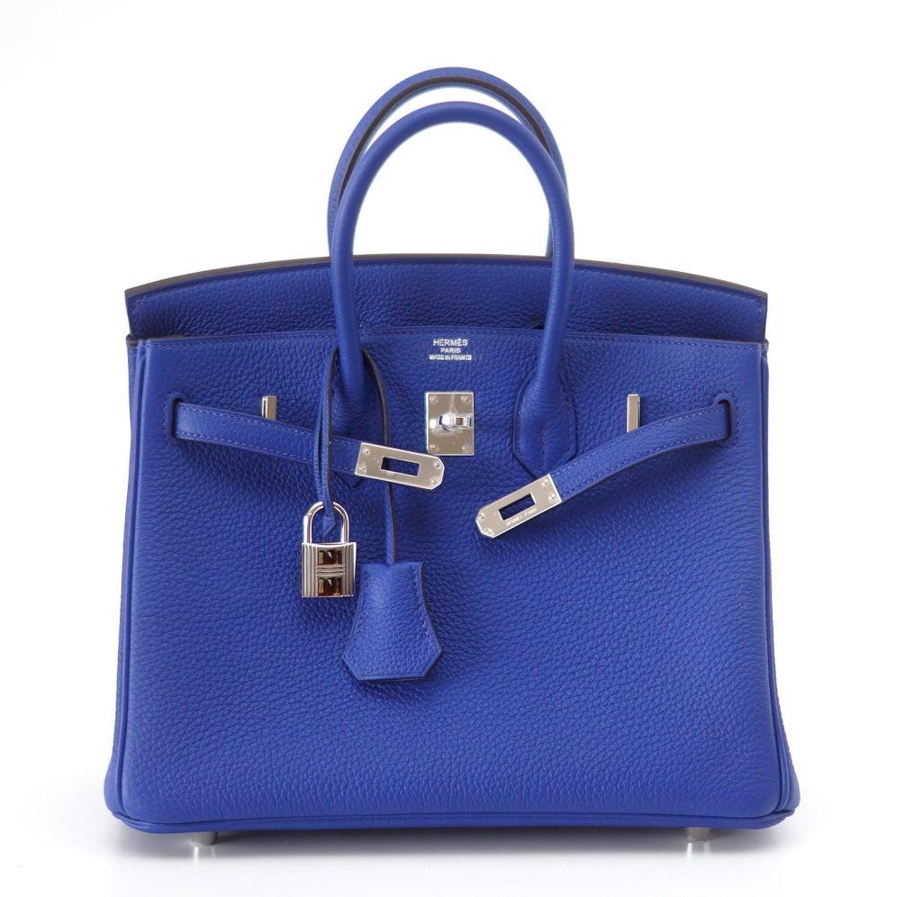 HERMES BIRKIN bag 25 Blue Electric vivid jewel togo palladium For ...