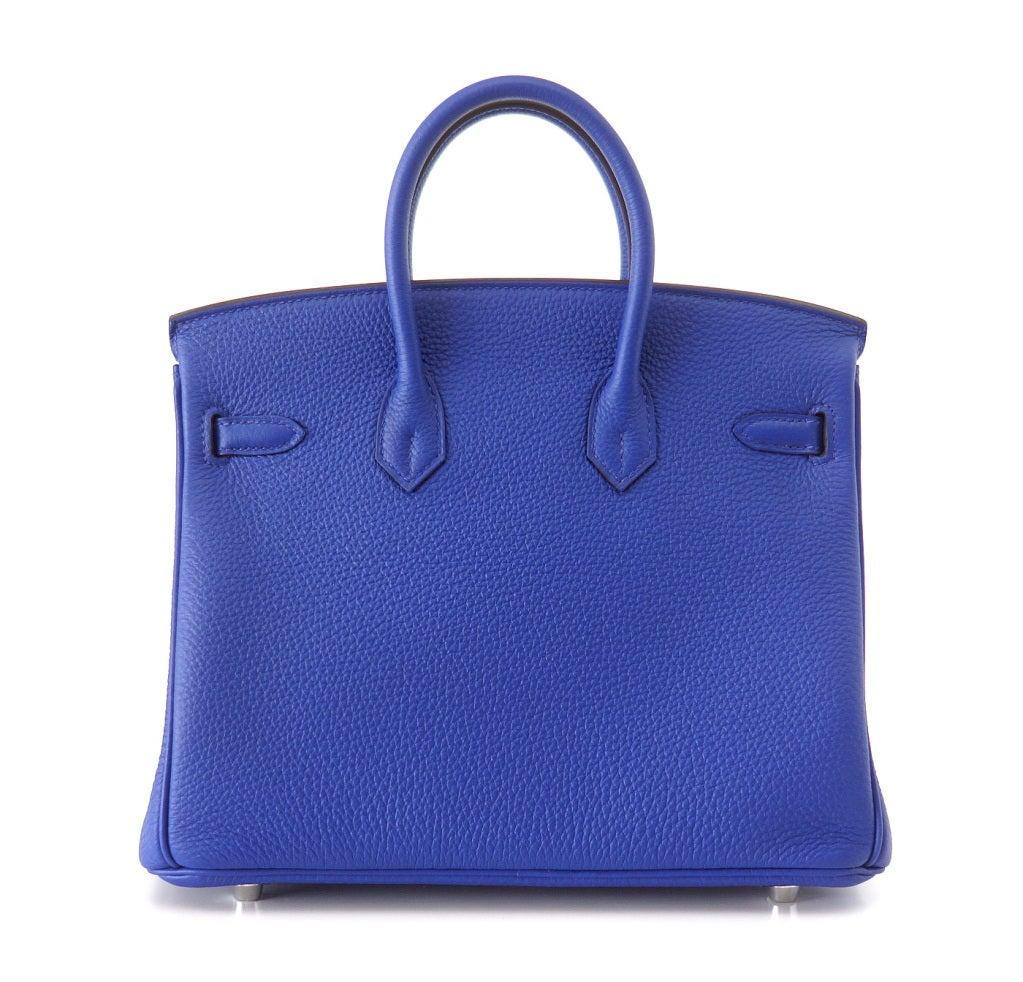 HERMES BIRKIN Bag 25 Blue Electric Vivid Jewel Togo Palladium 3