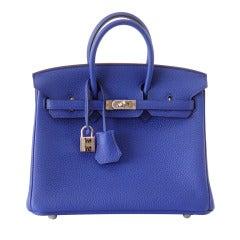 HERMES BIRKIN Bag 25 Blue Electric Vivid Jewel Togo Palladium