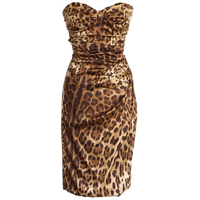 DOLCE&GABBANA dress strapless leopard print 6 NWT amazing fit 1